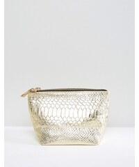 ASOS - Kosmetiktasche aus Leder mit Schlangenprägung - Gold
