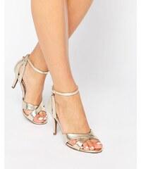 Head Over Heels By Dune - Maddie - Absatz-Sandalen mit Knöchelriemen und goldenem Schlangen-Print - Gold