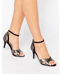 Head Over Heels By Dune - Maddie - Absatz-Sandalen mit Knöchelriemen und Silberschlangen-Print - Silber