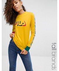 Fila Tall - T-shirt à manches longues avec motif - Jaune