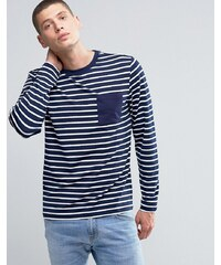 Another Influence - T-shirt rayé à manches longues - Bleu marine