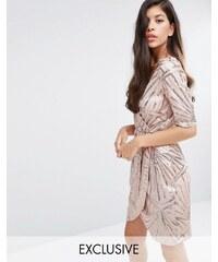 Club L - Kimonokleid mit Wickeldesign und Paillettenverzierung - Gold