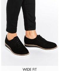 Dune Wide Fit Dune - Farlie - Grosses chaussures richelieu en cuir pointure large - Noir - Noir