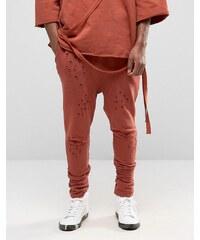 Granted - Pantalon de jogging à entrejambe bas effet vieilli - Orange
