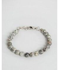 Seven London - Bracelet à perles effet marbre - Gris/blanc - Gris