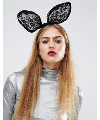 Orelia - Halloween - Bandeau lapin tendance avec nœud - Noir