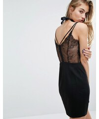 Miss Selfridge - Robe débardeur à dos en dentelle - Noir
