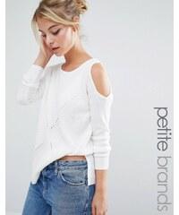 Miss Selfridge Petite - Pull souple épaules dénudées - Blanc