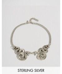 Regal Rose - Malice - Halloween-Kragenkette mit doppeltem Schlangendesign - Silber