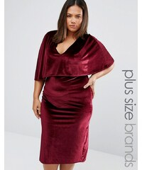 Club L Plus - Robe mi-longue cape en velours - Rouge