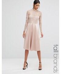 Y.A.S Tall - Jolie robe patineuse avec empiècement et manches en dentelle - Rose