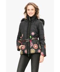 Desigual černá zimní bunda Marian s barevnými potisky