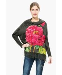 Desigual antracitový svetr s květinou Remedios