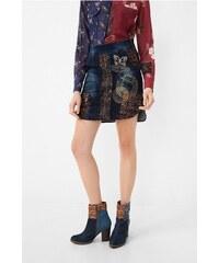 Desigual džínová sukně Natalia s výšivkami
