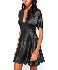 Černé metalické večerní šaty Ax Paris