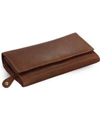 Arwel hnědá dámská psaníčková kožená peněženka s klopnou