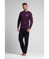 Rossli pánské pyžamo dlouhé fialovošedé