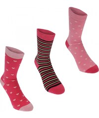 Kangol Formal Socks 3 Pack Ladies, pink hearts