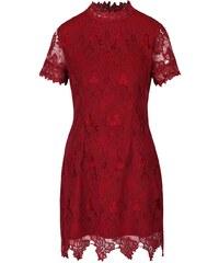 Vínové krajkové šaty s krátkým rukávem AX Paris