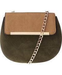 Hnědo-zelená crossbody kabelka s řetízkem a detaily ve zlaté barvě ONLY Luna