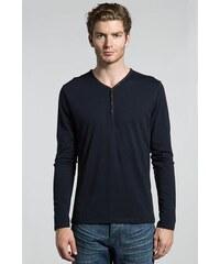 T-shirt homme col tunisien Bleu Coton - Homme Taille L - Bonobo