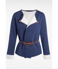 Veste femme bimatière détails cuir Bleu Coton - Femme Taille L - Bonobo