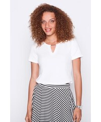 T-shirt manche courte Blanc Polyester - Femme Taille 0 - Cache Cache
