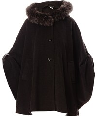 Baya Loulou - Cape en laine finition fourrure de renard - gris