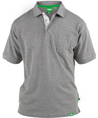 Lesara D555 Poloshirt mit farblich abgesetzter Knopfblende - Grau meliert - 3XL