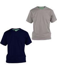 Lesara 2er-Set D555 T-Shirt aus Baumwolle - Blau & Grau - 3XL