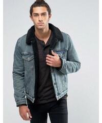 ASOS - Veste en jean entièrement doublée de fausse fourrure à délavage foncé - Noir