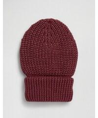 Hat Attack - Bonnet avec bordure à grosses cotes - Rouge