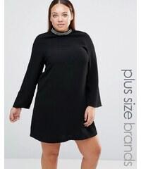 Lovedrobe - Robe grande taille avec col ornementé - Noir