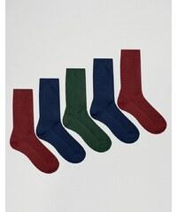 ASOS - Lot de 5 paires de chaussettes gaufrées - Multi