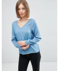 Vila -Top en jean décolleté - Bleu moyen - Bleu