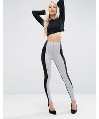 ASOS - Pantalon skinny color block avec taille élastique et fermetures éclair - Gris