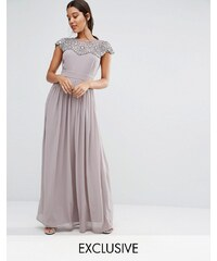 TFNC WEDDING - Robe longue ornementée - Gris