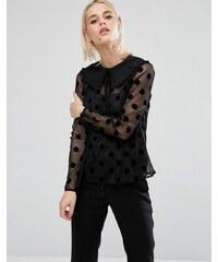 Fashion Union - Chemise transparente à pois avec lien au col - Noir