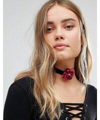 Her Curious Nature - Samt-Halsband im Blumendesign - Schwarz