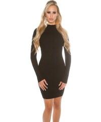 KouCla Úpletové šaty s rolákem DS1616C Barva: Černá, /M