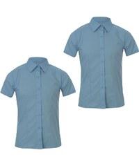 Giorgio Girls 2 Pack Short Sleeve School Shirts, blue
