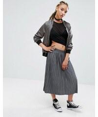 Pull&Bear - Jupe mi-longue en jersey plissé - Gris - Gris