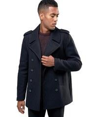 HUSH HUSH Krátký vlněný kabát tmavomodré barvy