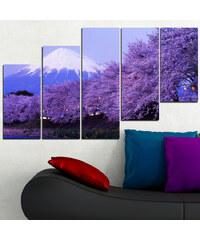Lesara 5-teiliges Wandbild Japanische Kirschblüte