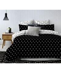 MyBestHome Povlečení BLACK AND WHITE set 3 ks, 1x 200x220 cm, 2x povlak 70x80 cm francouzské povlečení MyBestHo