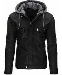 Zateplená černá kožená bunda pro chlapy