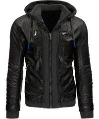 Zateplená černá kožená bunda s odepínací kapucí a dvojím efektem
