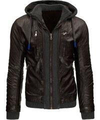 Zateplená hnědá kožená bunda s odepínací kapucí a dvojím efektem