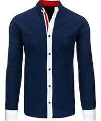 Tmavě modrá slim košile s bílými detaily pro šviháky