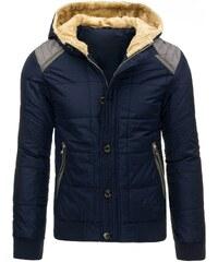 Tmavě modrá pánská zimní bunda s teplou kapucí